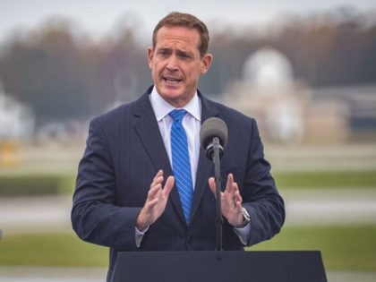 Republican Congressman Ted Budd speaks at a Make America Great Again rally in Greensboro International Airport, in Greensboro, North Carolina on October 27, 2020. (Photo by Grant BALDWIN / AFP) (Photo by GRANT BALDWIN/AFP via Getty Images)