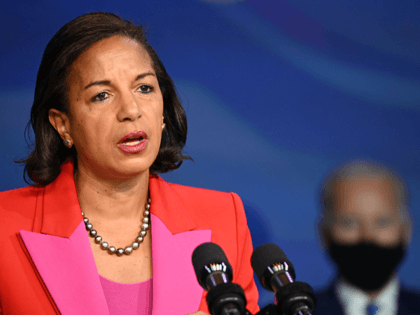 Susan Rice speaks on December 11, 2020, after being nominated to be Director of the White House Domestic Policy Council by US President-elect Joe Biden (R), in Wilmington, Delaware. (Photo by JIM WATSON / AFP) (Photo by JIM WATSON/AFP via Getty Images)