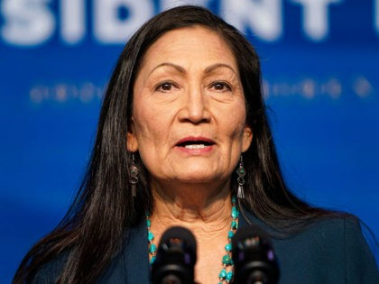 WILMINGTON, DE - DECEMBER 19: Nominee for Secretary of Interior, Congresswoman Deb Haaland, speaks after President-elect Joe Biden announced his climate and energy appointments at the Queen theater on December 19, 2020 in Wilmington, Delaware. Haaland is the first Native American nominated to serve on the presidential cabinet. (Photo by …