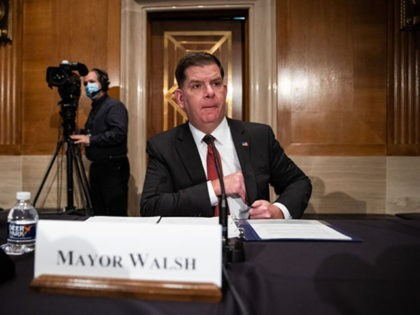 WASHINGTON, DC - FEBRUARY 04: Labor secretary nominee Marty Walsh prepares to testify at his confirmation hearing before the Senate Health, Education, Labor, and Pensions Committee in the Dirksen Senate Office Building on Capitol Hill February 4, 2021 in Washington, DC. Walsh was previously the mayor of Boston. (Photo by …