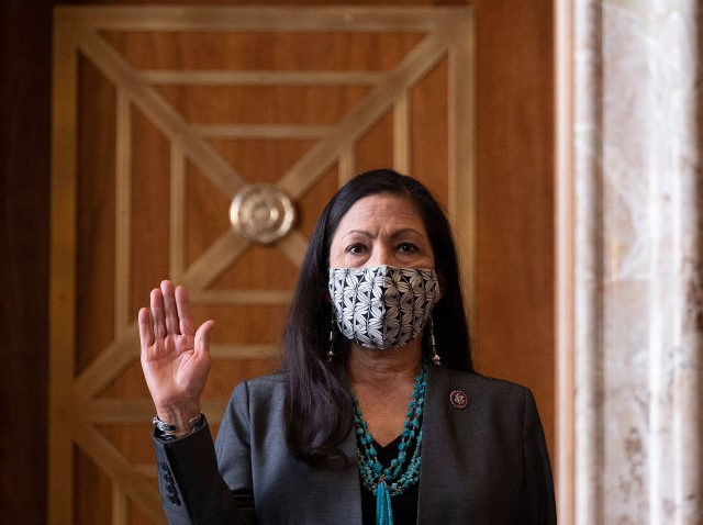 WASHINGTON, DC - FEBRUARY 23: Congresswoman Deb Haaland, (D-N.M.), is sworn in during the Senate Committee on Energy and Natural Resources hearing on her nomination to be Interior Secretary on Capitol Hill on February 23, 2021 in Washington, DC. If confirmed, Haaland would become the first Native American Cabinet secretary …