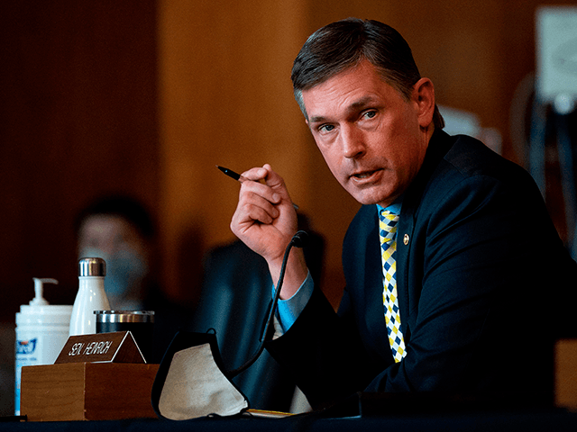 US Senator Martin Heinrich, D-New Mexico, questions Congresswoman Deb Haaland, D-NM, during the Senate Committee on Energy and Natural Resources hearing on her nomination to be Interior Secretary on Capitol Hill in Washington, DC, on February 23, 2021. (Photo by JIM WATSON / POOL / AFP) (Photo by JIM WATSON/POOL/AFP …