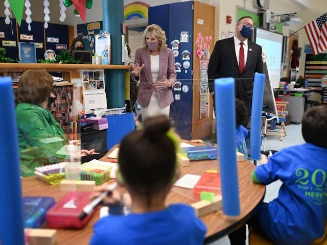 US First Lady Jill Biden and Education Secretary Miguel Cardona tour Benjamin Franklin Elementary School in Meriden, Connecticut, on March 3, 2021. (Photo by MANDEL NGAN / POOL / AFP) (Photo by MANDEL NGAN/POOL/AFP via Getty Images)
