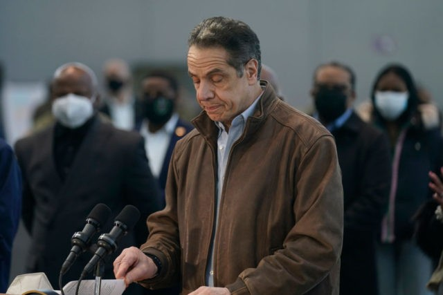 NEW YORK, NEW YORK - MARCH 08: New York Gov. Andrew Cuomo speaks at a vaccination site at the Jacob K. Javits Convention Center on March 8, 2021 in New York City. Cuomo has been called to resign from his position after allegations of sexual misconduct were brought against him. …