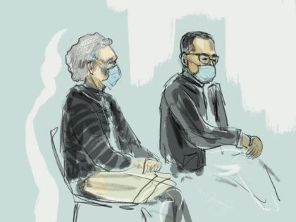 This drawing by Janne van Woensel Kooy shows the accused Hilde Van Acker and Jean-Claude Lacote at a session of the second assizes trial of French Jean-Claude Lacote (54) and his Belgian wife Hilde Van Acker (57) before the Assizes Court of West-Flanders, in Brugge, Wednesday 10 March 2021. Lacote …