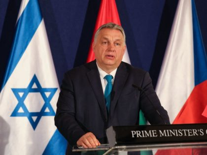 Hungarian Prime Minister Viktor Orban speaks during a joint press conference with his Israeli and Czech conterparts (unseen) in Jerusalem, on March 11, 2021. (Photo by ABIR SULTAN / POOL / AFP) (Photo by ABIR SULTAN/POOL/AFP via Getty Images)