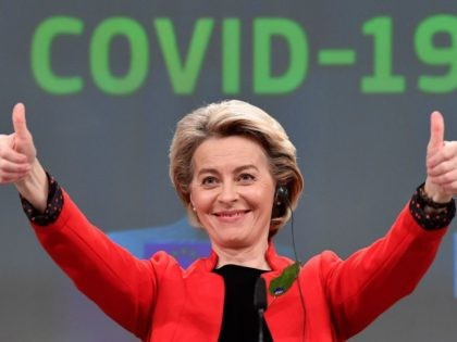 European Commission President Ursula von der Leyen getures during a press conference following a college meeting to introduce draft legislation on a common EU Covid-19 vaccination certificate at the EU headquarters in Brussels on March 17, 2021. (Photo by JOHN THYS / POOL / AFP) (Photo by JOHN THYS/POOL/AFP via …
