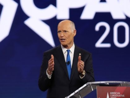ORLANDO, FLORIDA - FEBRUARY 26: Sen. Rick Scott (R-FL) addresses the Conservative Political Action Conference being held in the Hyatt Regency on February 26, 2021 in Orlando, Florida. Begun in 1974, CPAC brings together conservative organizations, activists, and world leaders to discuss issues important to them. (Photo by Joe Raedle/Getty …