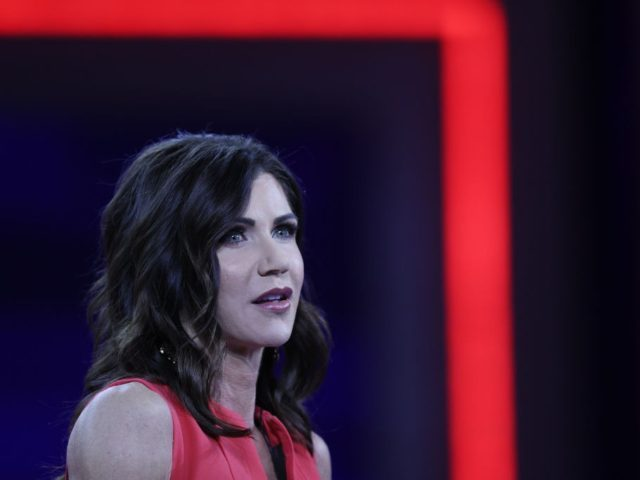 ORLANDO, FLORIDA - FEBRUARY 27: South Dakota Gov. Kristi Noem addresses the Conservative Political Action Conference held in the Hyatt Regency on February 27, 2021 in Orlando, Florida. Begun in 1974, CPAC brings together conservative organizations, activists, and world leaders to discuss issues important to them. (Photo by Joe Raedle/Getty …