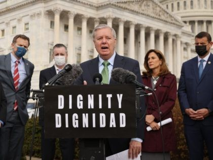 WASHINGTON, DC - MARCH 17: Sen. Lindsey Graham (R-SC) speaks during a news conference about immigration outside the U.S. Capitol on March 17, 2021 in Washington, DC. Graham joined GOP members of the House to announce a plan to overhaul the immigration system, which would include giving citizenship to Dreamers, …