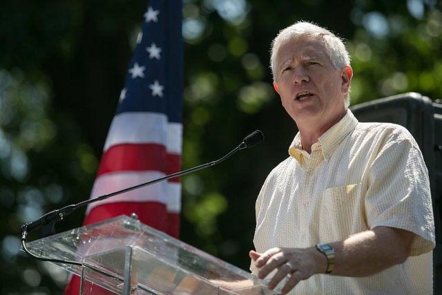 WASHINGTON, DC - JULY 15: Rep. Mo Brooks (R-AL) speaks during the DC March for Jobs in Upper Senate Park near Capitol Hill, on July 15, 2013 in Washington, DC. Conservative activists and supporters rallied against the Senate's immigration legislation and the impact illegal immigration has on reduced wages and …