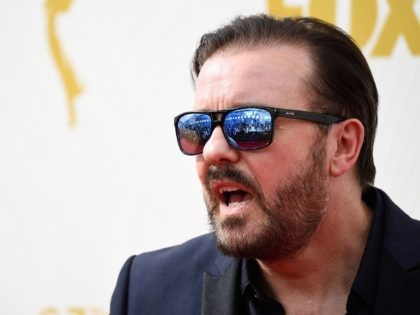 LOS ANGELES, CA - SEPTEMBER 20: Actor Ricky Gervais attends the 67th Annual Primetime Emmy Awards at Microsoft Theater on September 20, 2015 in Los Angeles, California. (Photo by Frazer Harrison/Getty Images)