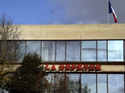 "Picture taken on December 9, 2015 in the French southwestern city of Toulouse shows the facade of the French regional newpaper ""La Depeche du Midi"" headquarters. (Photo by PASCAL PAVANI / AFP) (Photo by PASCAL PAVANI/AFP via Getty Images)"