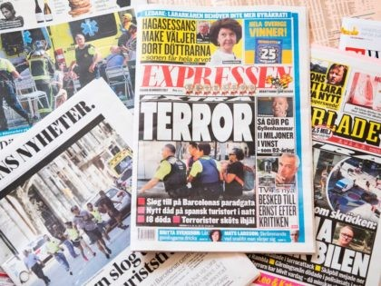 A picture taken on August 18, 2017 in Stockholm shows frontages of Swedish newspapers dedicated to the Barcelona attack, one day after a van ploughed into the crowd, killing 14 persons and injuring over 100 on the Rambla boulevard in Barcelona. Drivers have ploughed on August 17, 2017 into pedestrians …