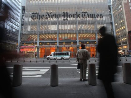 NEW YORK - DECEMBER 07: The New York Times' masthead is displayed in front of the midtown headquarters on December 7, 2009 in New York City. Today is the deadline for Times staffers to accept a buyout package in an effort to eliminate 100 newsroom employees this year in the …