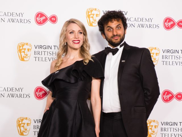 LONDON, ENGLAND - MAY 13: (L-R) Rachel Parris and Nish Kumar pose in the press room at the Virgin TV British Academy Television Awards at The Royal Festival Hall on May 13, 2018 in London, England. (Photo by Jeff Spicer/Getty Images)