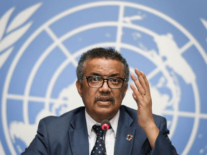 World Health Organization (WHO) Director General Tedros Adhanom Ghebreyesus gestures during a press conference following an International Health Regulations Emergency Committee on an Ebola outbreak in Democratic Republic of the Congo on May 18, 2018 at the United Nations Office in Geneva. (Photo by Fabrice COFFRINI / AFP) (Photo by …