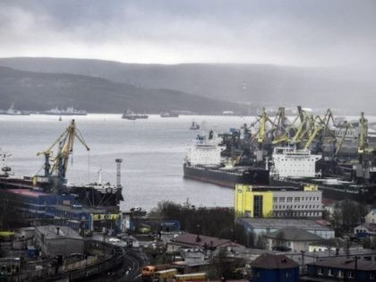 A general view taken on May 18, 2018 shows the Russian northern port city of Murmansk. - Akademik Lomonosov, the world's, so far, only nuclear floating power unit (FPU), has arrived at the roadstead of the port of Murmansk where it is waiting to enter the port area on May …