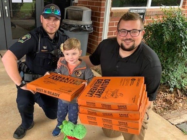 This is Alex. Alex met with Inv. Powell and Officer Conaway today. Alex has been saving his Christmas money, birthday money and his allowance since October of 2020 so he could buy pizza for first responders. Alex and his Mom brought the pizza by today. Alex is awesome! Be like …