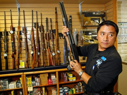 In this file photo at The Gun Store November 14, 2008 in Las Vegas, Nevada manager Cliff Wilson said he's seen a large spike in sales since Barack Obama was elected president. (Ethan Miller/Getty Images)