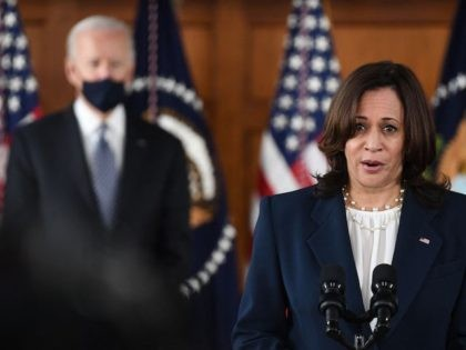 US Vice President Kamala Harris speaks as US President Joe Biden looks on during a listening session with Georgia Asian American and Pacific Islander community leaders at Emory University in Atlanta, Georgia on March 19, 2021. (Eric Baradata/AFP via Getty Images)