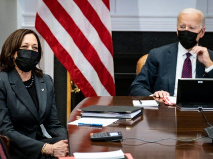 WASHINGTON, DC - FEBRUARY 23: U.S. Vice President Kamala Harris (L), and President Joe Biden participate in a virtual bilateral meeting with Prime Minister Justin Trudeau of Canada in the Roosevelt Room of the White House on February 23, 2021 in Washington, DC. This is Biden and Trudeau's first bilateral …