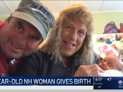 Barbara Higgins and husband Kenny Banzhoff with their newborn Jack. Screenshot via NBC 10 Boston.