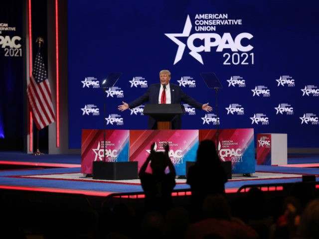 ORLANDO, FLORIDA - FEBRUARY 28: Former U.S. President Donald Trump addresses the Conservative Political Action Conference (CPAC) held in the Hyatt Regency on February 28, 2021 in Orlando, Florida. Begun in 1974, CPAC brings together conservative organizations, activists, and world leaders to discuss issues important to them. (Photo by Joe …