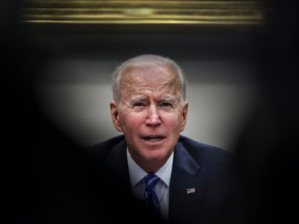 WASHINGTON, DC - MARCH 04: US President Joe Biden speaks during a virtual call to congratulate the NASA JPL Perseverance team on the successful Mars Landing in the Roosevelt Room of the White House on March 4, 2021 in Washington, DC. (Photo by Oliver Contreras-Pool/Getty Images)