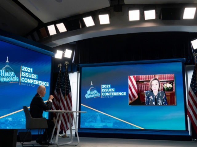 President Joe Biden listens to House Speaker Nancy Pelosi of Calif., during a virtual meeting with the House Democratic caucus in the South Court Auditorium of the Eisenhower Executive Office Building, on the White House complex, Wednesday, March 3, 2021, in Washington. (AP Photo/Alex Brandon)