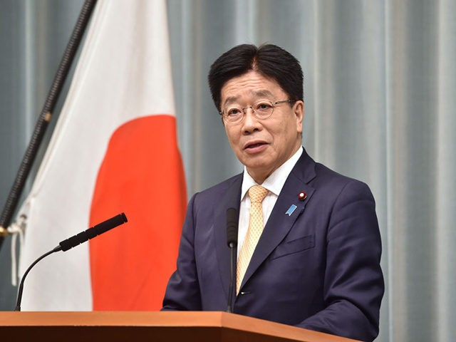Japan's newly appointed Chief Cabinet Secretary Katsunobu Kato speaks as he announces a list of cabinet members during a press conference at the prime minister's office in Tokyo on September 16, 2020. - Yoshihide Suga became Japan's new prime minister earlier on September 16, with the former chief cabinet secretary …