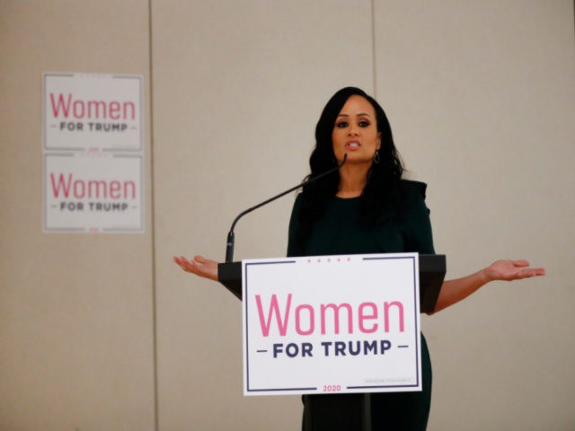 Katrina Pierson, Senior Advisor to Donald J. Trump for President, Inc. speaks during a training session for Women for Trump, An Evening to Empower, in Troy, Mich., Thursday, Aug. 22, 2019. President Donald Trump's campaign is rallying and training a corps of female defenders, mindful that Trump's shaky standing with …