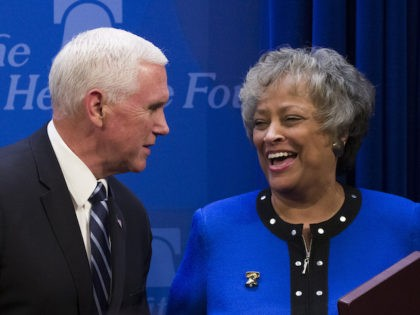 Vice President Mike Pence greets Heritage Foundation President Kay Coles James before speaking about the U.S.-Mexico-Canada trade agreement at the Heritage Foundation, Tuesday, Sept. 17, 2019, in Washington. (Alex Brandon/AP Photo)