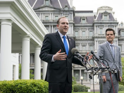 Rep. Lee Zeldin (R-NY) and Rep. Matt Gaetz (R-FL) speak to reporters outside the West Wing of the White House following a meeting with U.S. President Donald Trump on April 21, 2020 in Washington, DC. (Drew Angerer/Getty Images)