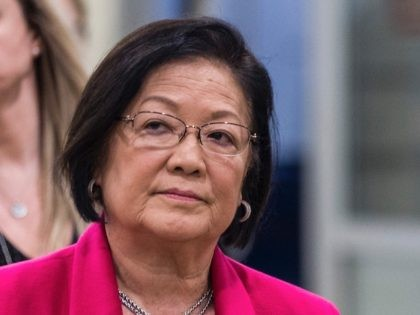 WASHINGTON, DC - JANUARY 30: Sen. Mazie Hirono (D-HI) is pictured in the Senate basement at the U.S. Capitol as the Senate impeachment trial of U.S. President Donald Trump continues on January 30, 2020 in Washington, DC. On Thursday, Senators continue asking questions for the House impeachment managers and the …