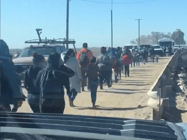 Migrants cross border from Mexico into Yuma in March. (Twitter Video Screenshot/Senator Ron Johnson)