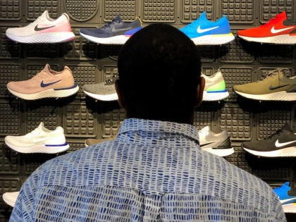 In this 2018 file photo, Nike shoes are displayed at a Nike Store in San Francisco, California. (Justin Sullivan/Getty Images)