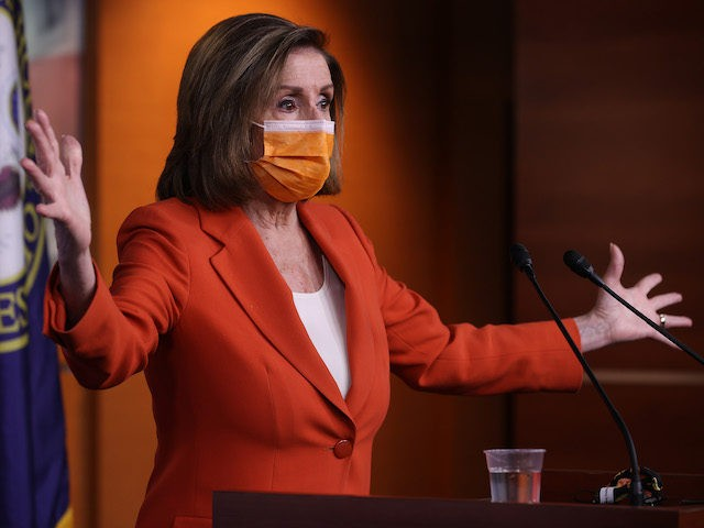 Speaker of the House Nancy Pelosi (D-CA) holds her weekly news conference one day after Congress passed a $1.9 trillion COVID-related stimulus package at the U.S. Capitol Visitors Center on March 11, 2021 in Washington, DC. (Chip Somodevilla/Getty Images)