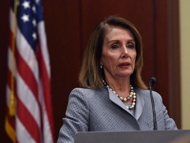 Speaker Nancy Pelosi (D-CA) speaks at the screening of TransMilitary on Capitol Hill at the U.S. Capitol Visitor Center at U.S. Capitol Visitor Center on April 03, 2019 in Washington, DC. (Larry French/Getty Images)