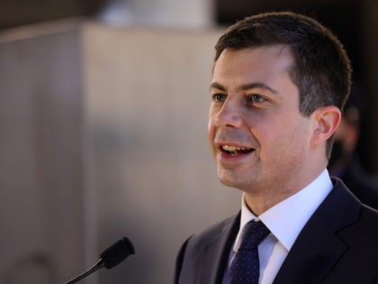 U.S. Secretary of Transportation Pete Buttigieg speaks to Amtrak employees during a visit at Union Station February 5, 2021 in Washington, DC. (Alex Wong/Getty Images)