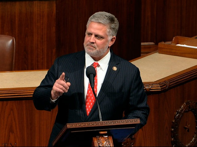 Rep. Drew Ferguson, R-Ga., speaks as the House of Representatives debates the articles of impeachment against President Donald Trump at the Capitol in Washington, Wednesday, Dec. 18, 2019. (House Television via AP)