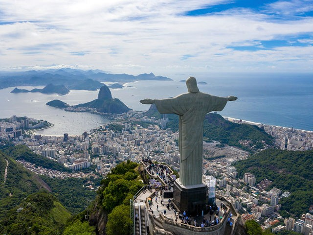 RIO DE JANEIRO, BRAZIL - MARCH 01: An aerial view of the statue of Christ the Redeemer during the opening ceremony of the festivities in honor of the 90th anniversary of the statue on March 1, 2021 in Rio de Janeiro, Brazil. The monument was inaugurated in 1931, and the …