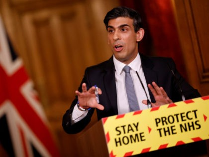LONDON, ENGLAND - MARCH 03: Chancellor Rishi Sunak holds press conference on 2021 Budget on March 3, 2021 in London, England. The Chancellor, Rishi Sunak, presented his second budget to the House of Commons. He has pledged to protect jobs and livelihoods as the UK economy has faced crisis during …