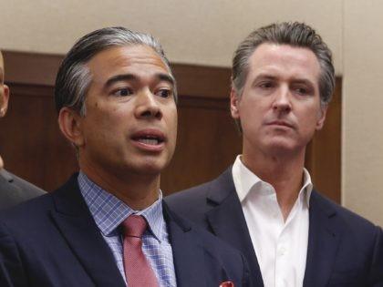 Rob Bonta and Gavin Newsom (Rich Pedroncelli / Associated Press)