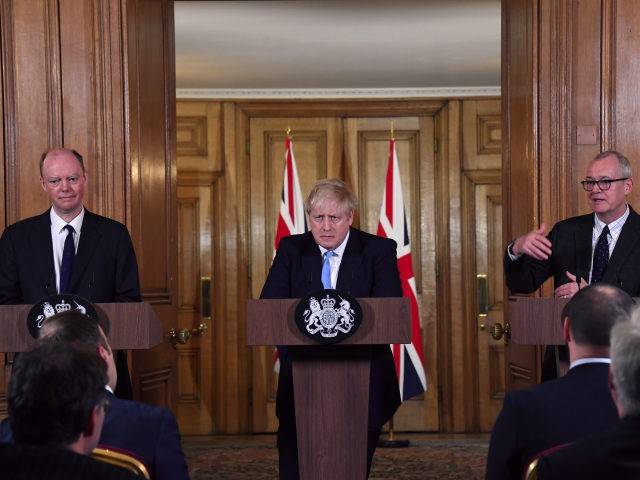 LONDON, ENGLAND - MARCH 09: From left, Chief Medical Officer for England Chris Whitty, UK Prime Minister Boris Johnson and Chief Scientific Adviser Patrick Vallance speak during a press conference in Downing Street about coronavirus outbreak on March 9, 2020 in London, England. (Photo by Alberto Pezzali - WPA Pool/Getty …