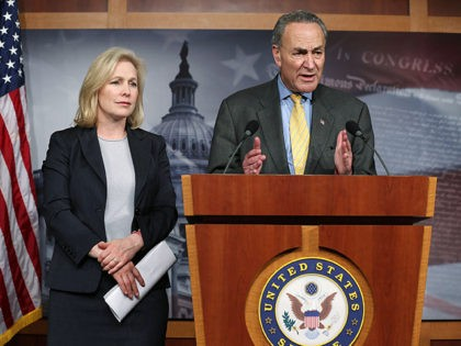 WASHINGTON, DC - JANUARY 04: U.S. Sen. Charles Schumer (D-NY) (R) and Sen. Kirsten Gillibrand (D-NY) (L) speak to the media during a news conference January 4, 2013 on Capitol Hill in Washington, DC. Schumer and Gillibrand spoke on the passing of a small portion of the superstorm Sandy relief …