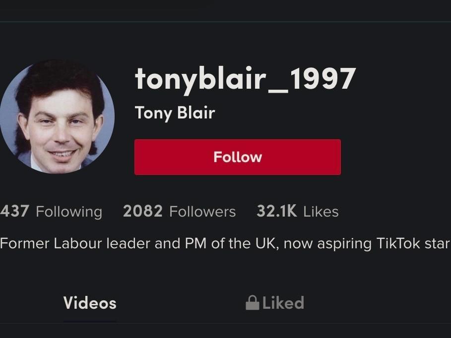 Screenshot of a Tony Blair parody account on Chinese social media site TikTok, March 8, 2021. Kurt Zindulka, Breitbart News