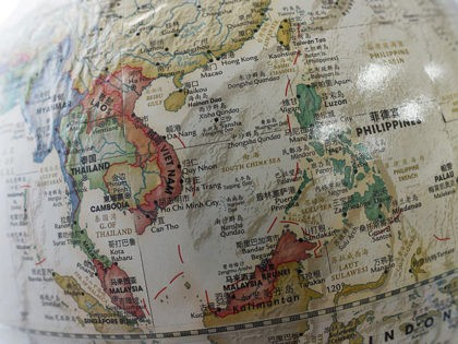 The South China Sea (C) is seen on a globe for sale at a bookstore in Beijing on June 15, 2016. Indonesia said June 15 that a bold statement from Southeast Asian nations raising concern over Beijing's island-building in the South China Sea was issued in error, as a meeting …