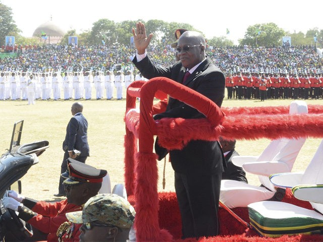 Tanzanian president President John Magufuli waves to Tanzanians as he arrives for his swearing in ceremony in Dodoma, Thursday, Nov. 5, 2020. (AP Photo)