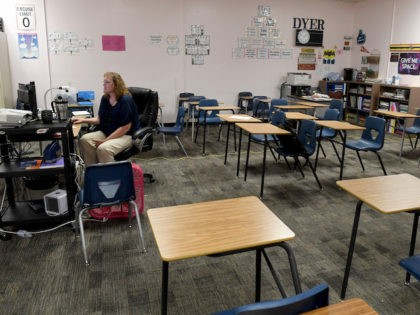 In this file photo, Dana Dyer teaches an online seventh grade algebra class from her empty classroom at Walter Johnson Junior High School on the first day of distance learning for the Clark County School District amid the spread of the coronavirus (COVID-19) on August 24, 2020 in Las Vegas, …